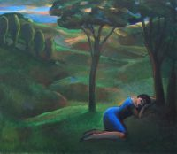 Sleeping woman in green