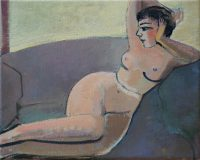 Nude on the gray sofa