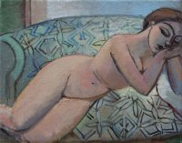 Nude on the patterned sofa