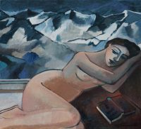 Nude with dark mountains