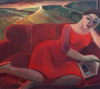 On the red sofa