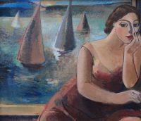 Mädchen mit Segelboote
